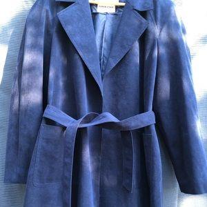 Nordstrom blue suede petticoat pea coat